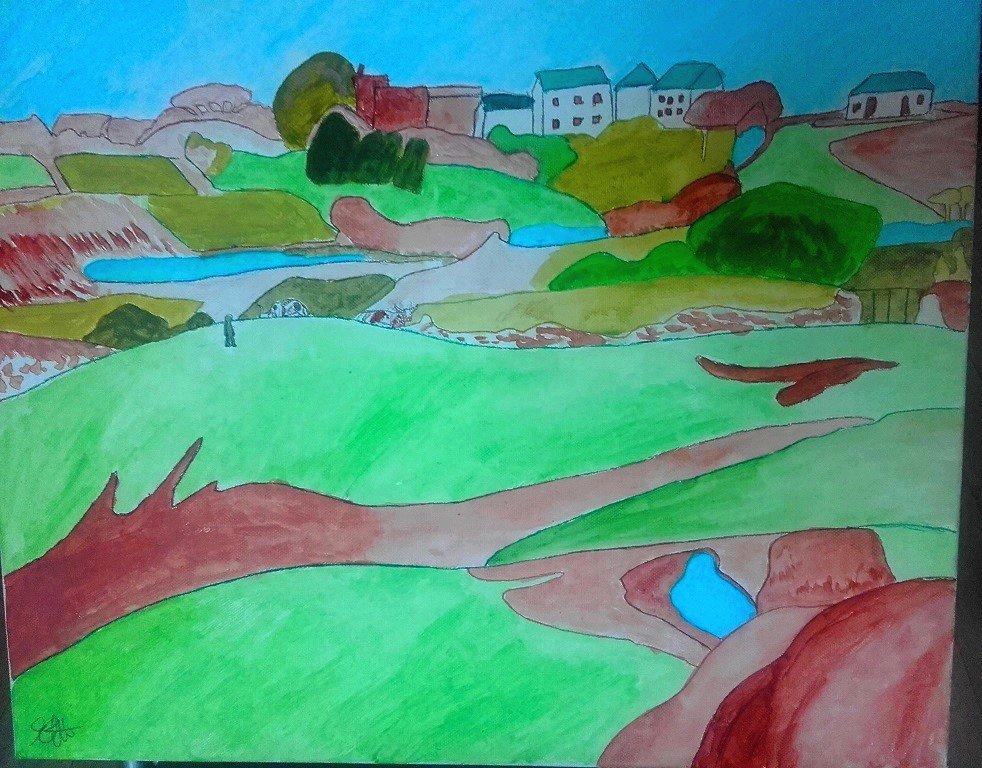 Champs vers le Pouldu de Paul Gauguin